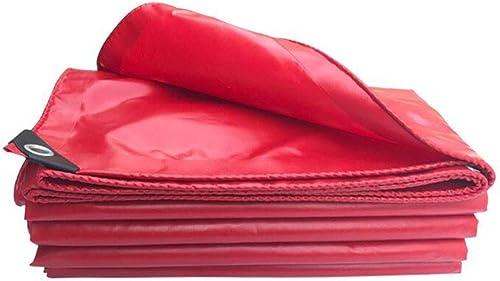 WHS Toile antipluie Rouge de bache de PVC 530g   m2 pour la Couverture de Voiture de Tente extérieure (Taille   3x4m)