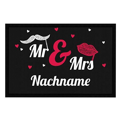 PhotoFancy Fussmatte mit Namen personalisiert - Fußmatte mit Namen Bedrucken (Mr. & Mrs, 60 x 40)