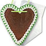 Lebkuchenherz Rohling mit Rand Grün-Weiß - 16cm - inkl. Wiederverpackung | Lebkuchenherzen Rohlinge selbst gestalten beschriften blanke Lebkuchen Herzen von LEBKUCHEN WELT