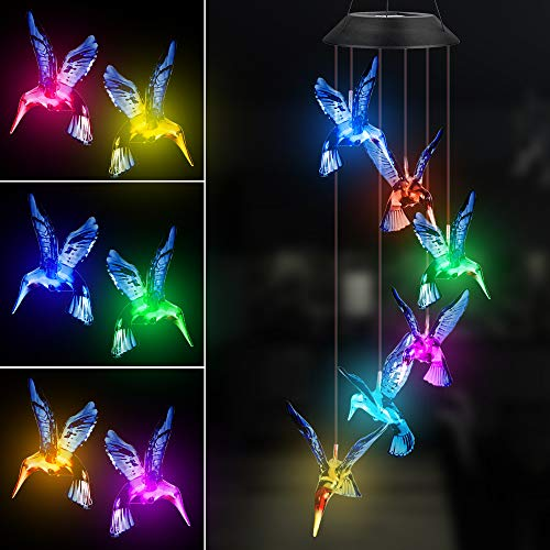 Hummingbird Solar Wind Chimes, Color Changing Outdoor Waterproof Solar Powered Mobile Hanging Chimes, LED Wind Chime Light for Garden Patio Yard Home Decor(Blue)