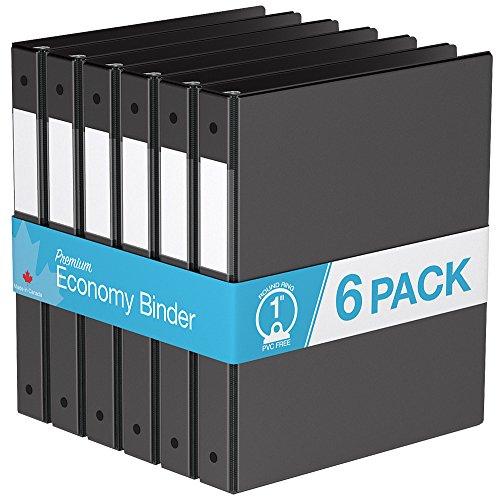 Premium Economy, Round Ring, Binder, 6 Pack (1, Black)