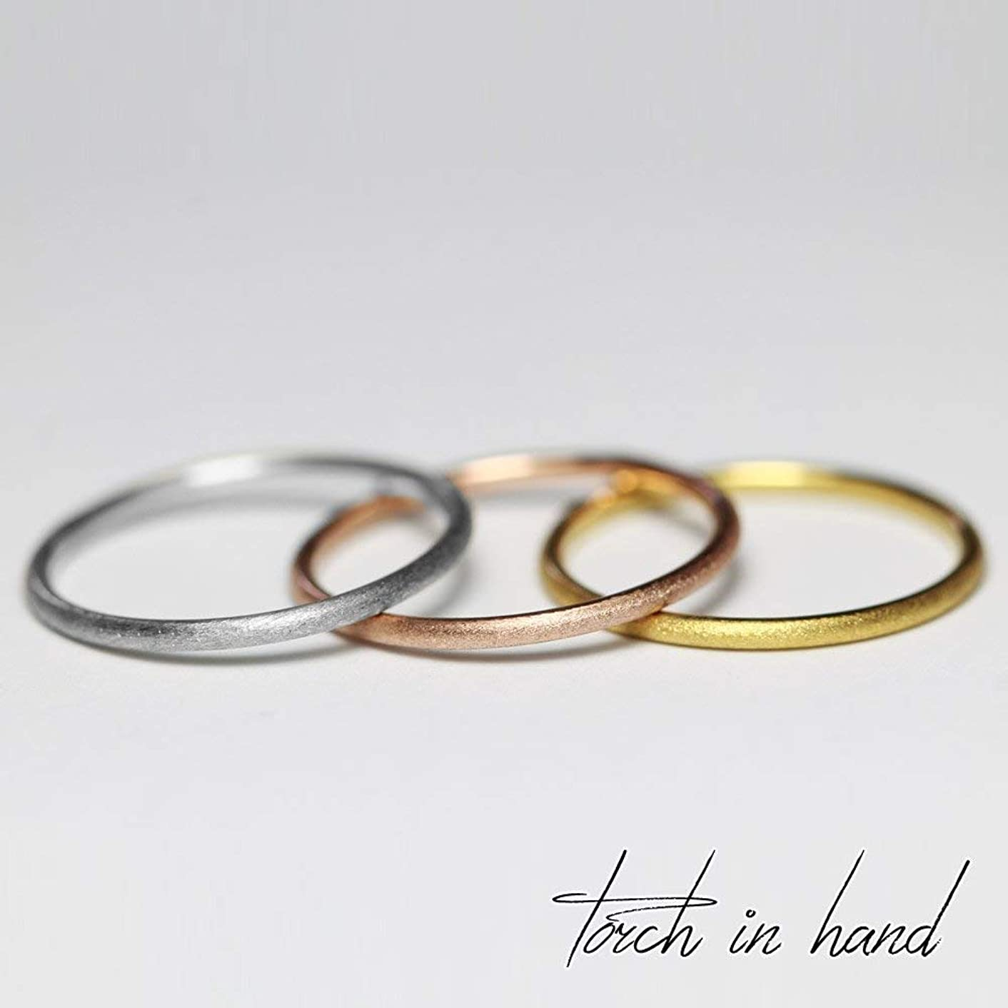 Set of 3 Solid 18k Gold Thin Brushed Surface Stacking Ring