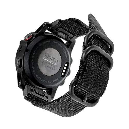 "Fênix 5X/Fenix 5X Plus, Pulseira de relógio Yoside, 26 mm, nylon NOTA, durável para Garmin Fenix 5X/5X Plus/Fenix 3/Quatix 3/Tactix Bravo/Descent Mk1, Pulso de ajuste 6,3""-8,7"" (Preto)"