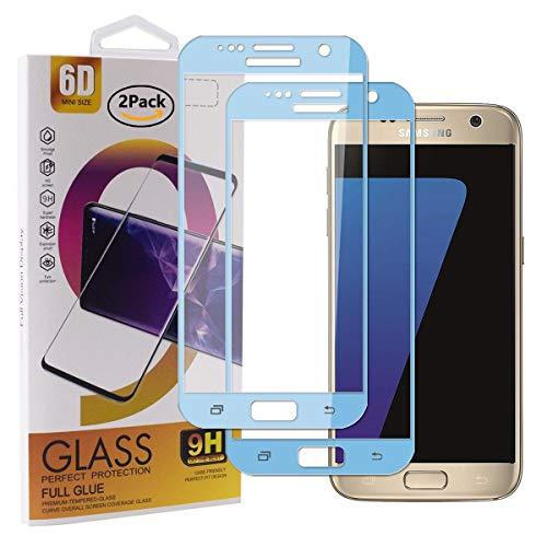 Guran [2 Pezzi Pellicola Vetro Temperato per Samsung Galaxy S7 Smartphone Copertura Completa 9H Durezza Anti-Impronte HD Pellicola Protettiva - Cielo Blu
