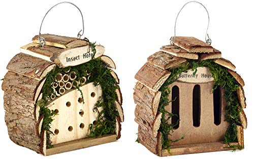 Pet Ting x2 Natural Wooden Insect and Bee Hotel House Bugs Butterfly Insects Home Eco
