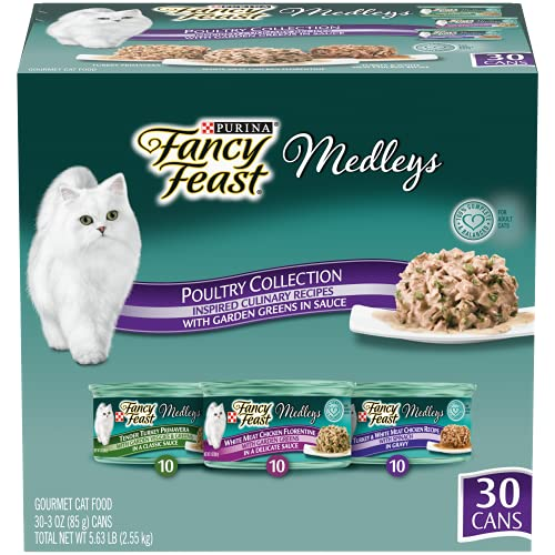 Purina Fancy Feast Wet Cat Food Variety Pack, Medleys Poultry Collection with Garden Greens in Sauce - (30) 3 oz. Cans