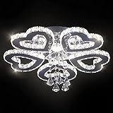 Moderna lámpara de araña de cristal con 5 anillos de corazón, lámparas de techo LED, iluminación colgante lámpara colgante para dormitorio, sala de estar, comedor, vestíbulo (color cambiable)