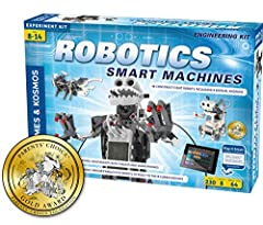 This kit gives kids a simple, fun, and customizable introduction to robotics that lets them build eight motorized machines. Using the app interface, you can program the robots you build to behave based on the feedback coming from the ultrasound senso...