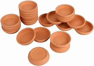 24 قطعة من صحن تيرا كوتا من برايت ستارل، صينية صغيرة من الطين مقاس 8.12 سم، مناسبة للأواني المنزلية 3 بوصات و6.35 سم و5.08 سم