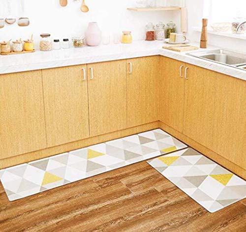 PVC-Leder-Küche Mat Anti-Skid-Öl-Proof Teppichboden Küche wasserdichte Matte für zu Hause Teppich Küche Mat,45X95+45X120cm