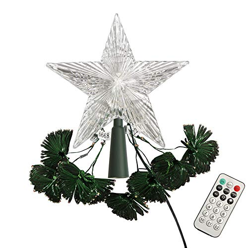 ZHONGXIN Christmas Lights, Tree Topper Star with 8 LED String Lights, UL-Listed Multicolor with Remote Control, Indoor/Outdoor Color Changing LED Light Show for Christmas Tree Decor (12 Light Modes)