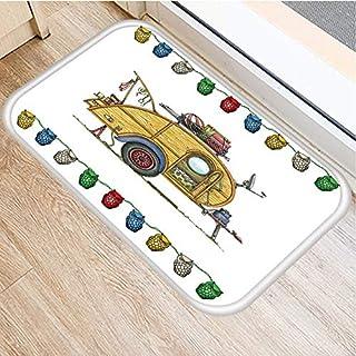 OPLJ Cartoon Camper Owl Pattern Anti-Slip Suede Carpet Door Mat Doormat Outdoor Kitchen Living Room Floor Mat Rug A11 40x60cm