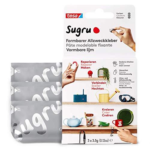 tesa Sugru Colla modellabile, adesivo forte per tutti gli usi, confezione da 3 (3 x 3.5 g) in grigio