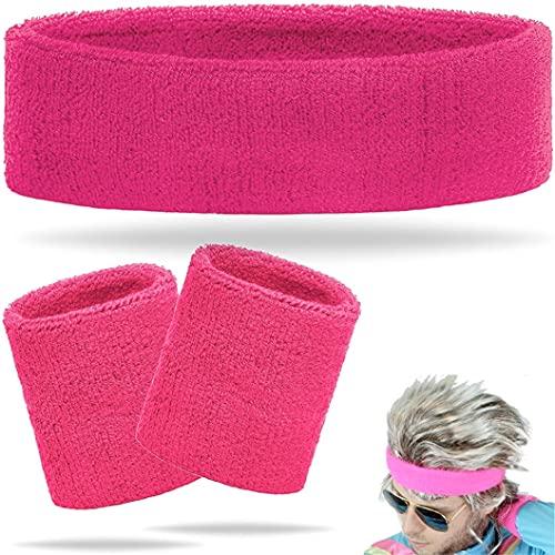TK Gruppe Timo Klingler 3 in 1 Schweißband pink Set mit Stirnband - als Accessoire Vokuhila Kostüm zu Retro neon 80er 90er Fasching & Karneval