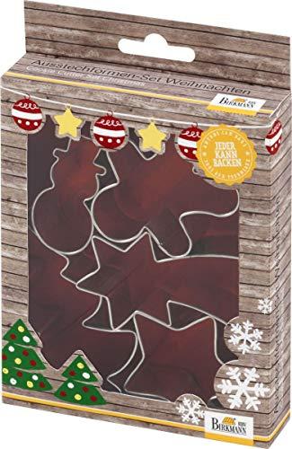 knusper.haus Keks - Ausstechformen/Plätzchenformen Set Weihnachten (5 - teilig / 5-8 cm - Weißblech) KOMPLETT - Set MIT Rezept
