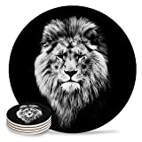 Drink Coasters Absorbent Natural Ceramic Stone Bar Coasters Set of 4 - Serious 3D Lion Head Animal Printing Cup Mat with Cork Backing, Housewarming Gifts for Home Kitchen Decorations