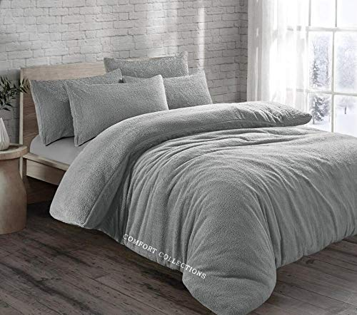 Fleece Duvet Quilt Cover Teddy Bedding Set With Matching Pillowcase Warm and Cosy Silver Double 200cm x 200cm Approximate