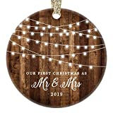 First Christmas as Mr & Mrs Ornament 2019 Rustic 1st Year Married Newlyweds 3' Flat Circle Porcelain...