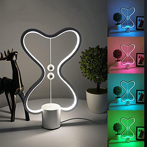 Qwhone Lámpara De Mesa De Acrílico Moderna Lámpara De Equilibrio Heng Alimentada USB con Interruptor De Bolas Flotantes Magnéticas Luz LED De Cuidado Ocular Cálido Lámpara De Noche De Dormitorio
