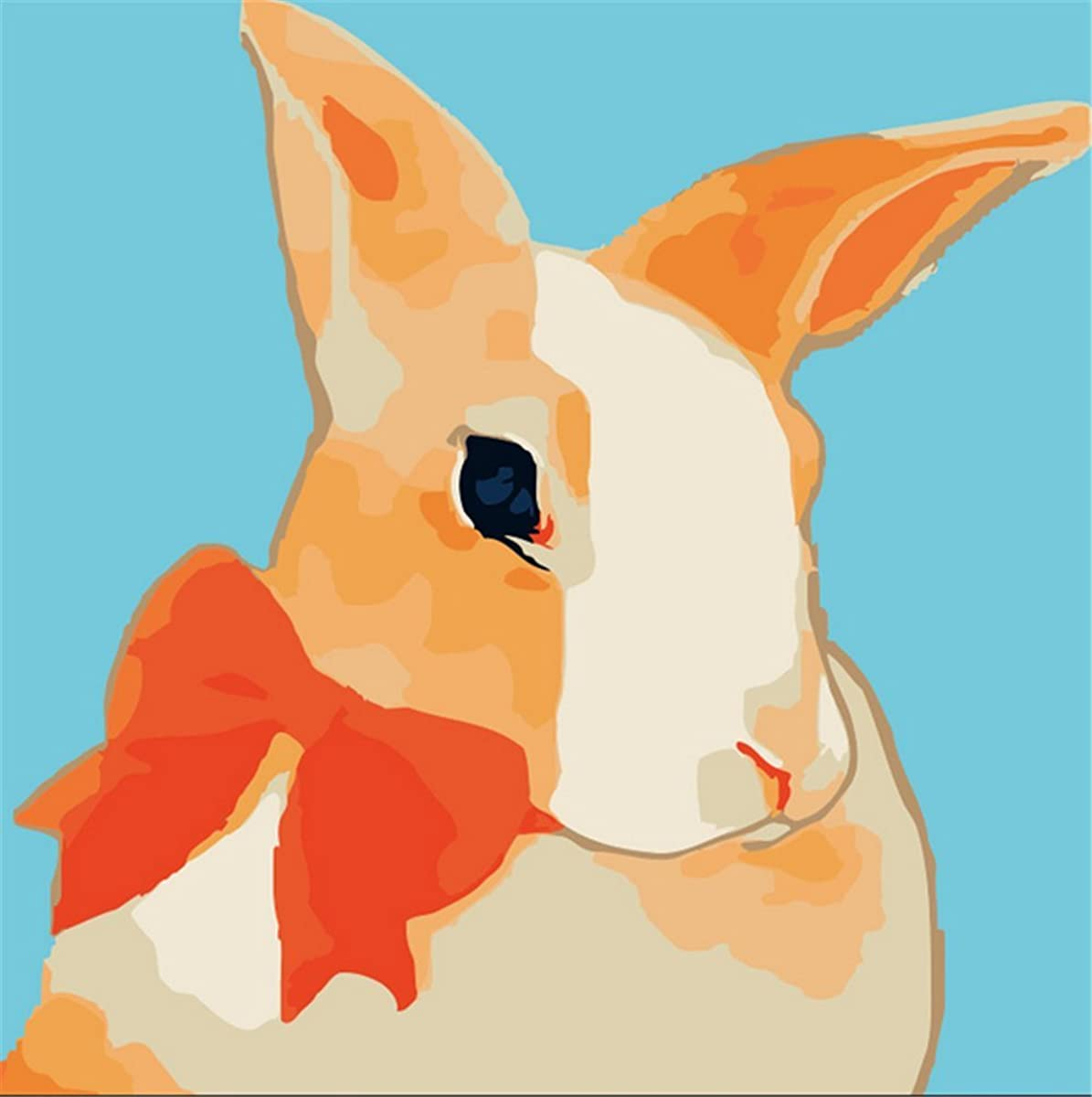 YEESAM ART New Paint by Numbers Kits for Kids, Diy Oil Painting - Miss Rabbit 25X25cm - Framed