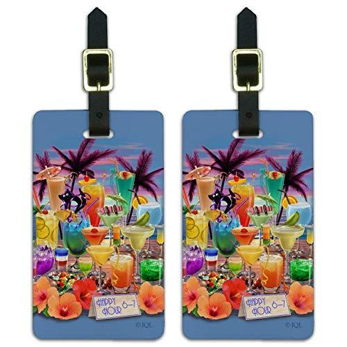 Tropical Vacation Happy Hour Bar bebidas equipaje etiquetas de identificación Juego de 2