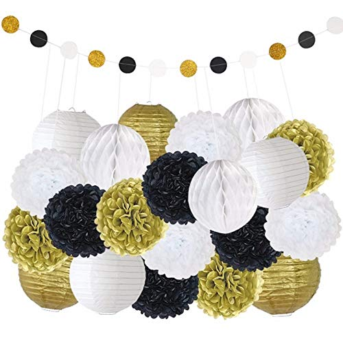 Evwoge 22pcs/Set Paper Lanterns Gold White Black Hanging Lantern for Wedding Decor Round Paper Garland Bunting for Home Party, Anniversaries, Baby Showers Supplies