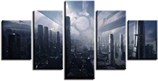 LWLNB Decorative Painting 5 Canvas Prints Paintings Wall Art Frame 5 Pieces Mass Effect Citadel Pictures Home Decor Modular Fantasy Game Cityscapes Posters