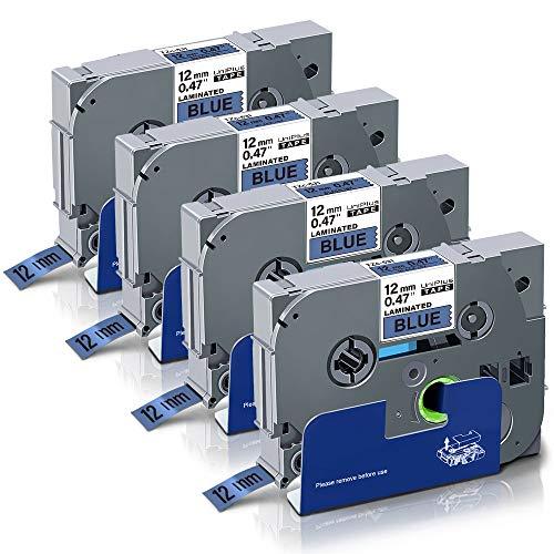 UniPlus Nastri per Etichette Compatibile per Brother TZ Tape Tze-531 Tze531Nastro Laminato per Brother PTouch PT Cube PT-1000 PT-H107 PT-H105 PT-H101C PT-P700 E100 D400, 12mm x 8m, Nero su Blu, 4 Pz