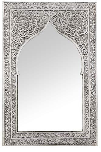 Orient Spiegel Wandspiegel Malika 40cm Silber Messing | Großer Marokkanischer Flurspiegel Messingrahmen orientalisch verziert | Orientalischer Vintage Badspiegel ohne Beleuchtung | Orientalische Deko