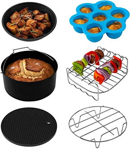 Cosori Heißluftfritteuse Zubehör, Sechsteiliges Zubehörset für 3,5 Liter Fritteusen Air Fyer, Backform, Pizza Pan, Grillrost, Dämpfen Rack, Silikonmatte, Muffinform, C137-6AC
