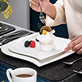 MALACASA, Serie Elvira, 60 TLG. CremeWeiß Porzellan Geschirrset Kombiservice Tafelservice mit Tassen, Untertassen, Dessertteller, Suppenteller und Flachteller für 12 Person - 5