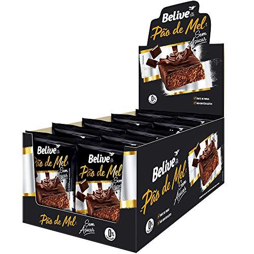 Pão de Mel 100% Coberto de Chocolate sem Açúcar sem Glúten e sem Lactose Belive Display com 10 Unidades de 45G
