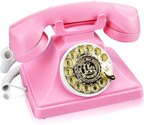 Retro Rotary Dial Corded Landline Phone, IRISVO Old Fashioned Rotary Phone Vintage Rotary Telephone with Speaker and Redial Function for Home and Office