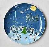 SD&EY Placa de cerámica de Navidad Dibujos Animados Pintado a Mano Placa de Cena de Fruta Plato de Fruta China Placa de Cena Occidental del año Nuevo Regalo,A