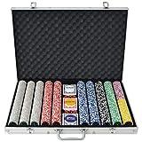 Festnight- Juego de Póker con 1000 Fichas Maletín de Aluminio Multicolor