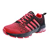 Zapatillas de Deportivas para Correr Mujeres Atletico Running Air Cushion 3cm Respirable Sneakers Negro Azul Rojo Blanco Rojo 42