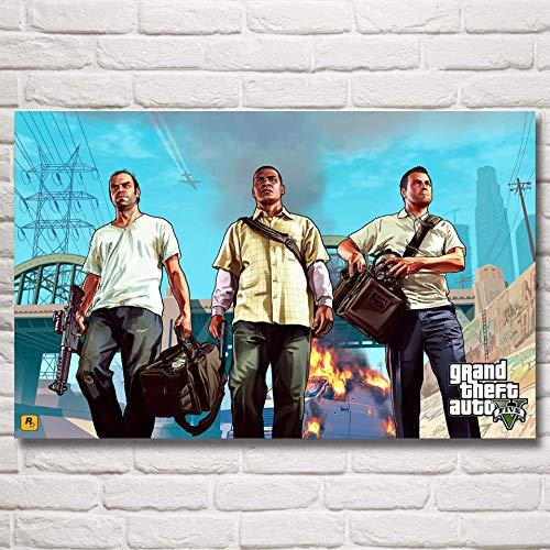 baodanla Geen frame Grand Theft Auto V GTA 5 Spel Poste en Prints Art Zijde ngs Muurdecoratie Slaapkamer Decoratie Beeld Wonen