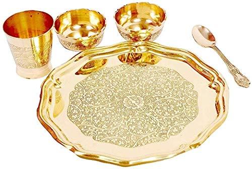 Cos route Brass Special Designer Laddu Gopal Bhog Thali 1 Plate, 2 Bowl, 1 Glass, 1 Spoon Set Thali Ladoo Gopal Bhog Thali