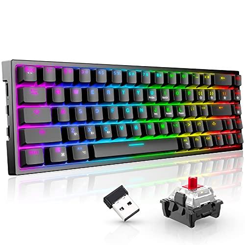 Mechanische Gaming Tastatur Kabellos,Tronsmart Elite Pro(RGB-Hintergrundbeleuchtung,mit Wireless und Bluetooth) QWERTY Rote Schaltern 68 PBT Taste,65{d1aa52eb493bee779edc8ebea5f4d92d1d9ae401088cbed20e1e6ac292a83cfe} Gaming Tastatur Mini-Schwar