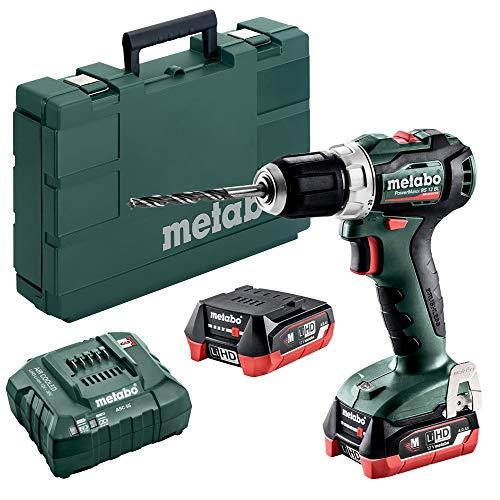 Metabo 601038800 601038800-Taladro Atornillador sin escobillas a bateria 12V / 2X LiHD 4,0 Ah Li-Ion PowerMaxx BS 12 BL con maletín, 12 V, Negro, Verde, Rojo, Plata
