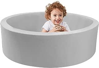 TRENDBOX Memory Foam Sponge Indoor Round Ball Pit for Toddler Children - Light Gray