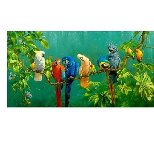 Unbekannt Bilder Bunte Papageien Tier Malerei Leinwand Malerei Wandkunst Drucke Für Wohnzimmer Moderne Dekorative Drucke Poster-70x140 cm Kein Rahmen