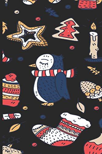 Notebook: 120 linierte Seiten ca DIN A5 Pinguin Notizbuch - Notebook mit Weihnachtsmotiven als lustige Geschenkidee zu Weihnachten. Süßes Pinguin Motiv mit Kerzen, Weihnachtsmütze und Nikolaus Socke.