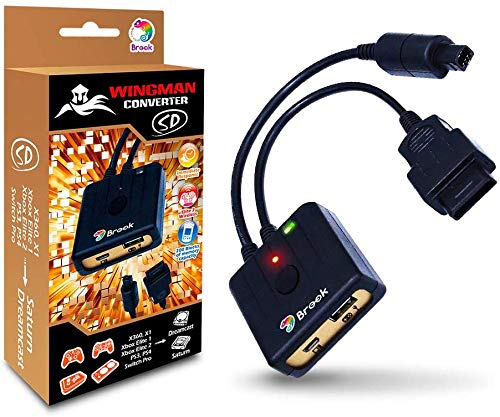Brook Wingman SD Support PS5/ Xbox Series X/S/ Xbox 360/ Xbox One/Xbox Elite 1 /Xbox Elite Series 2/PS3/ PS4/Switch Pro Controllers on Dreamcast Saturn PC X-Input Gaming Adapter Turbo and Remap