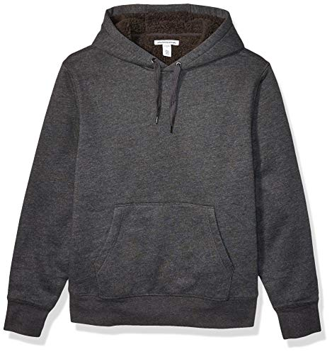 Amazon Essentials Men's Sherpa Lined Pullover Hoodie Sweatshirt, Charcoal Heather, Large