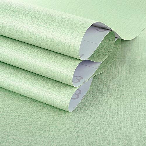 TANONE Green Linen Wallpaper Self-Adhesive Removable Peel and Stick DIY Wallpaper Faux Imitation Cloth Vinyl Film Wall Stickers Solid Color Decorate Furniture Bedroom (15.8 in X 118 in)