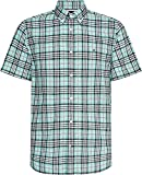Tommy Hilfiger CO/LI Check Shirt S/S Camisa, Miami Aqua/Multi, XXL para Hombre