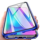 EabHulie Huawei Honor 10 Lite Case, 360° Full Body Transparent Tempered Glass with Magnetic Adsorption Metal Bumper Case Cover for Huawei Honor 10 Lite Blue