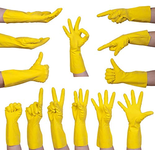 4 Pairs of Rubber Gloves by Keep it Handy | Medium Yellow Washing up Gloves | Household Cleaning Gloves