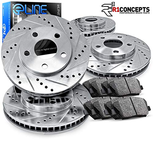 For 2015-2019 Volkswagen GTI R1 Concepts eLine Front Rear Drill/Slot Brake Rotors Kit + Ceramic Pads